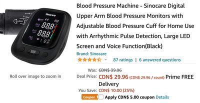 Amazon Canada Deals: Save 38% of Blood Pressure Machine with Coupon + 39% on Heavy Duty Light Stand + More Offers