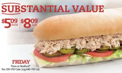 FRIDAY FISH DEAL $5.09/$8.09 at Mr. Sub