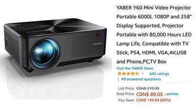 Amazon Canada Deals: Save 60% on Mini Video Projector + 40% on Vacuum Cleaner Corded Bagless Stick with Coupon + More Offers