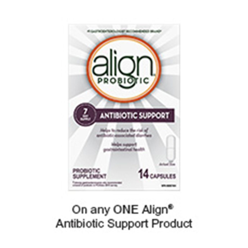 Save $2.00 when you buy any ONE Align® Antibiotic Support product (excludes trial/travel size, value/gift/bonus packs)