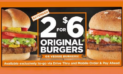 2 FOR $6 Original Burger-Veggie Burger at Harvey's
