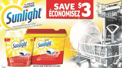 Sunlight Canada Coupons: Save $3 On Sunlight Advanced Dishwasher Detergent