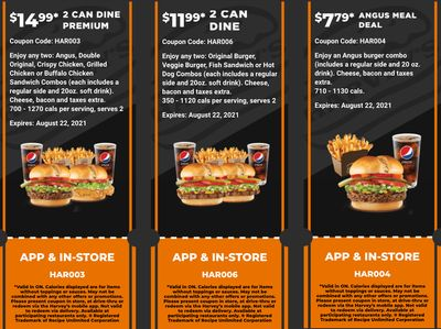 Harvey's Canada New Digital Coupons: Two OriginalBurger or Veggie Burger Combos for $11.99 + More Deals