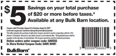 Bulk Barn Canada Coupons and Flyer Deals: Save $2 to $5 Off Your Purchase with Coupons + 25% off Select Items