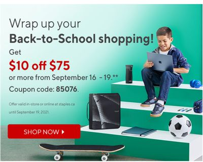 Staples Canada Coupons: Save $10 off Purchases of $75