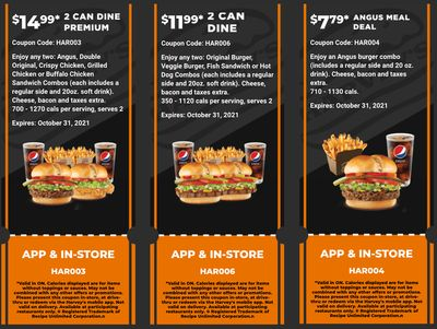Harvey's Canada Coupons (ON): until October 31