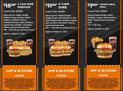 Harvey's Canada Coupons (NFLD): until October 31