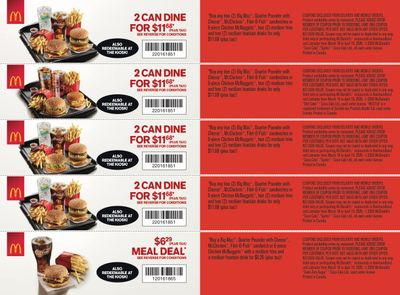 McDonald's Canada Coupons (NF) March 16 to April 19