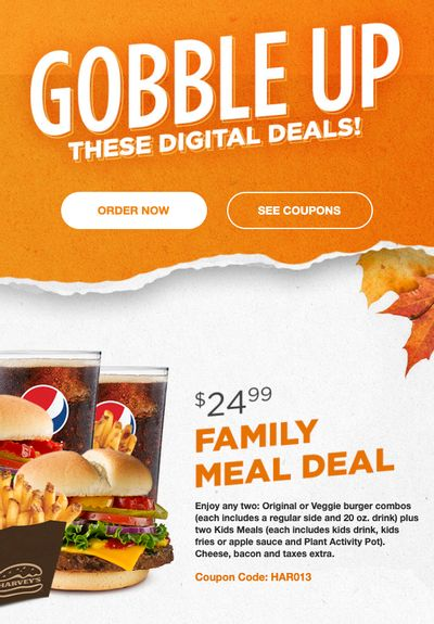 Harvey's Canada New Digital Coupons: Family Meal Deal for $24.99 + More Deals