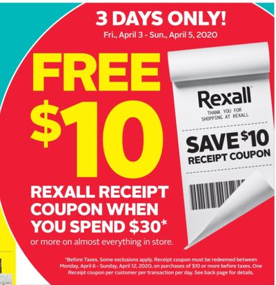 Rexall Pharma Plus Drugstore Canada Coupon & Flyers Deals: FREE $10 Gift Card With $30 Purchase + More Offers