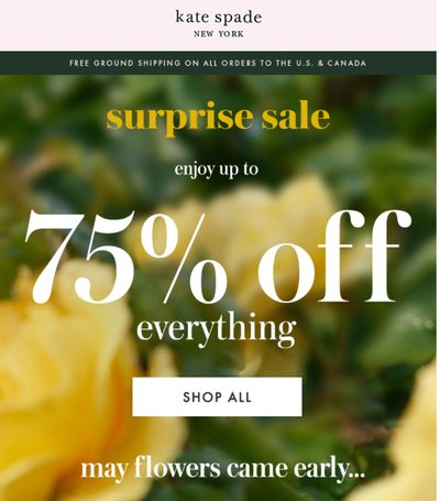 Kate Spade Online Surprise Sale: Save up to 75% off Everything + Extra 50% Off Sale Styles, with Coupon Code + FREE Shipping to Canada
