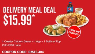 Swiss Chalet Canada Delivery Meal Deals: Get 1 Quarter Chicken Dinner + Appetizer + Pop for $15.99, with Coupon Code