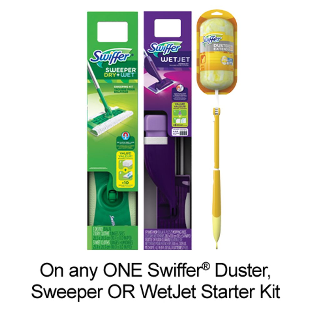 Save $3.00 when you buy any ONE Swiffer Starter Kit (Duster, SweeperOR Wet Jet) (excludes trial/travel size, value/gift/bonus packs)