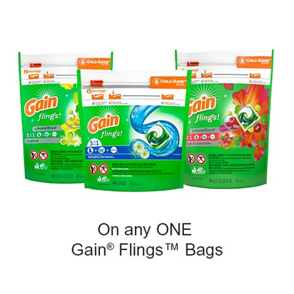 Save $1.00 when you buy any ONE Gain Flings™ Bags (excludes trial/travel size, value/gift/bonus packs)