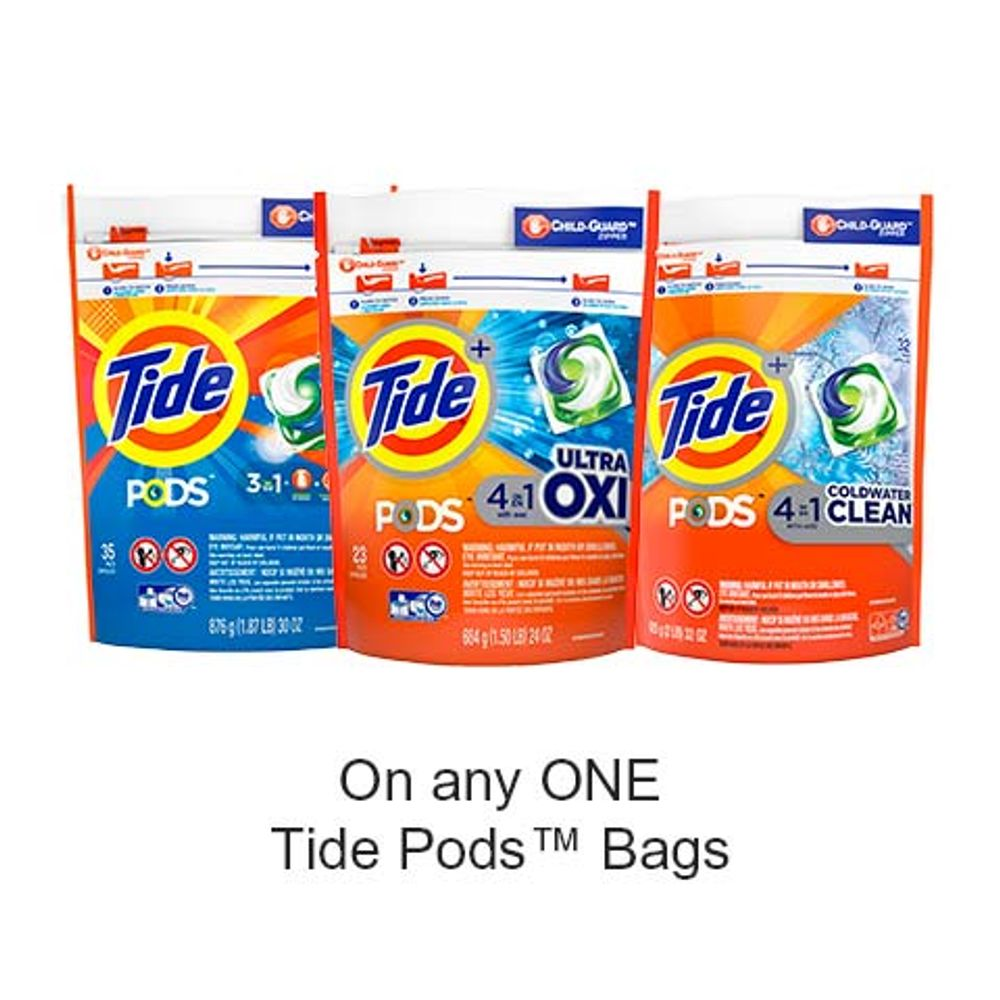Save $1.00 when you buy any ONE Tide Pods™ Bags (excludes trial/travel size, value/gift/bonus packs)