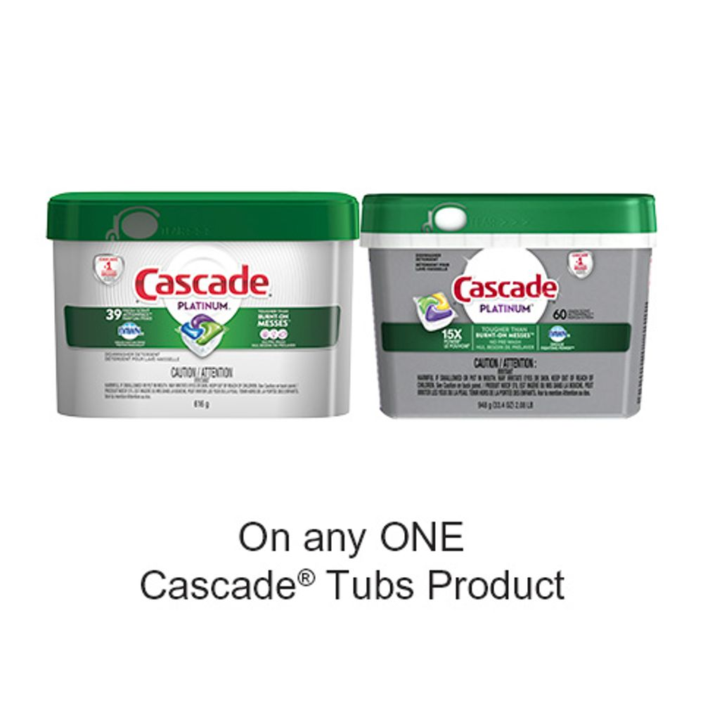 Save $3.00 when you buy any ONE CascadeTubs Product (excludes trial/travel size, value/gift/bonus packs)
