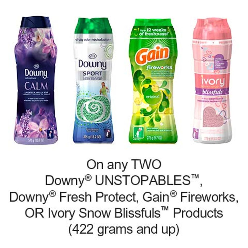 Save $4.00 when you buy any TWO Downy UNSTOPABLES, Downy Fresh Protect, Gain Fireworks OR Ivory Snow Blissfuls Products (422 grams and up) (excludes trial/travel size, value/gift/bonus packs)