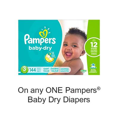 Save $1.50 when you buy any ONE Pampers Baby Dry Diapers (excludes trial/travel size, value/gift/bonus packs)