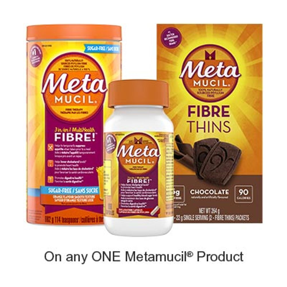 Save $2.00 when you buy any ONE Metamucil Product (excludes trial/travel size, value/gift/bonus packs)