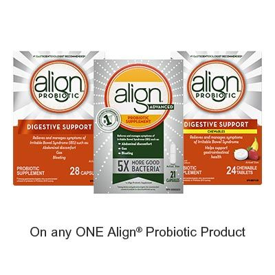 Save $3.00 when you buy any ONE Align Probiotic Product (excludes trial/travel size, value/gift/bonus packs)