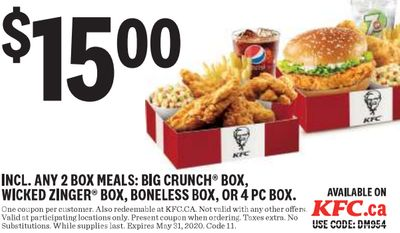 KFC Canada New Coupons: 2 Can Dine with any two Box Meals for $15.00 + Big Crunch or Zinger Combo for $6.69 + More Coupons