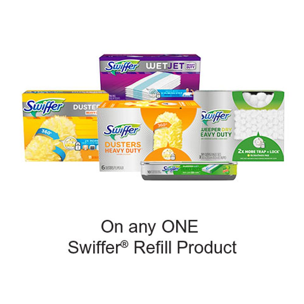 Save $1.00 when you buy any ONE Swiffer Refill Product (excludes trial/travel size, value/gift/bonus packs)