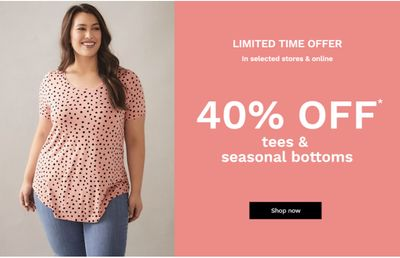 Penningtons Canada Sales: Save 40% off Tees & Seasonal Bottoms + an EXTRA40% + Additional 25% off Sale Styles with Coupon+ FREE Shipping on All Orders Sitewide