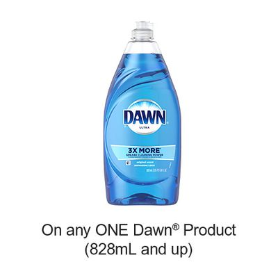 Save 50¢ when you buy any ONE Dawn Product (828mL and up) (excludes trial/travel size, value/gift/bonus packs)