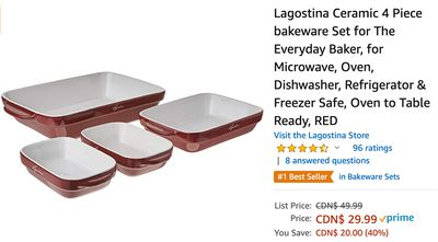Amazon Canada Deals: Save 40% on Lagostina Ceramic 4 Piece bakeware Set + 36% on  Lefant Robotic Vacuum Cleaner with Coupon + More Offers