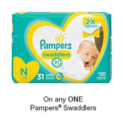 Save $2.00 when you buy any ONE Pampers Swaddlers Diapers (excludes trial/travel size, value/gift/bonus packs)