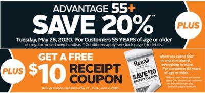 Rexall Pharmaplus Canada Super Bonus Seniors' Day Deals: Today, Save 20% Off + FREE $10 Rexall Gift Coupon