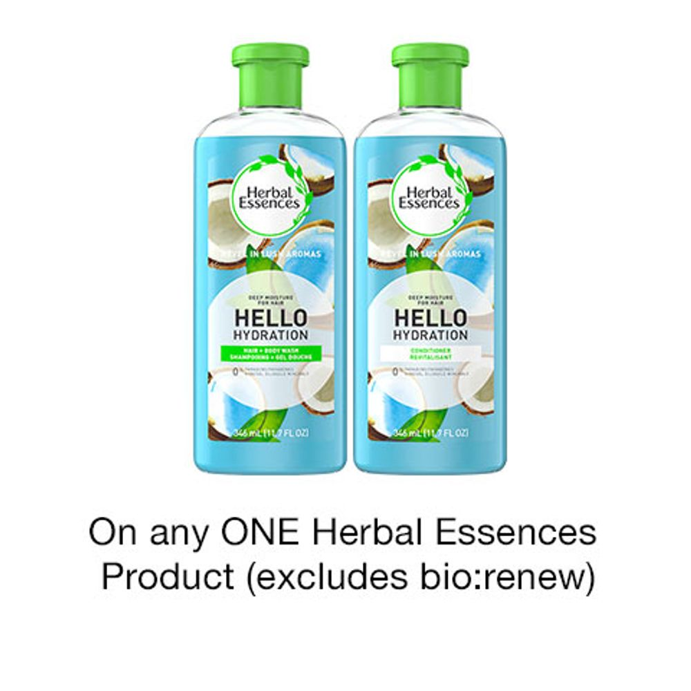Save $1.00 when you buy any ONE Herbal Essences Product (excludes bio: renew and trial/travel size, value/gift/bonus packs)