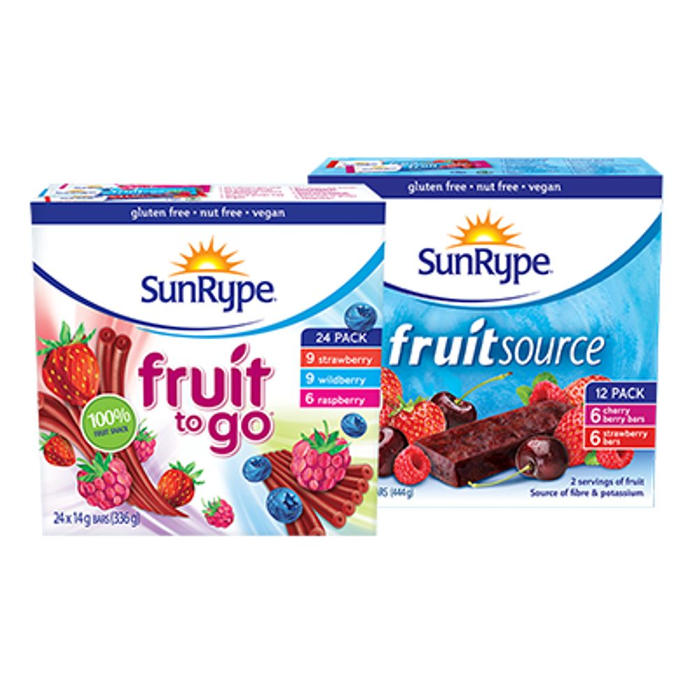 Save $1 On any one (1) SunRype Fruit to Go 24 pack or FruitSource 12 pack