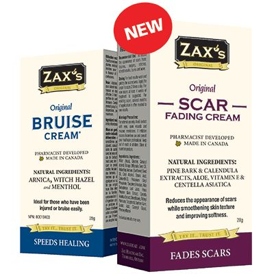 Save $5.00 on Zax's Original Bruise or Scar Cream. Redeemable at Shoppers Drug Mart, Rexall and at zaxhealth.com