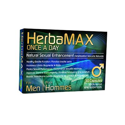 Save $5 Herbamax Once A Day For Men (30 Capsules) Natural Sex Enhancement (limit one per customer). Available at Shoppers Drug Mart stores. No prescription necessary.