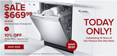 Hudson's Bay Canada One Day Sale: Today, Save $530 BOSCH Stainless Steel Dishwasher + Extra 20% off with Coupon Code