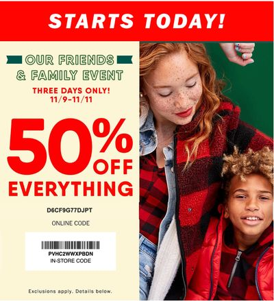 Old Navy Canada Friends & Family Event Sale: Save 50% Off Everything Sitewide with Coupon Code + Today Only $12 Sweaters!