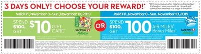 Safeway, Sobeys Canada Weekly Coupons: Spend $100 Get $10 Gift Card or 100 Bonus Miles + Flyers Deals
