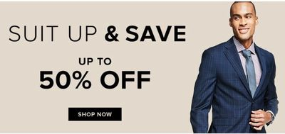 Hudson's Bay Canada Sale: Today, Suit up & Save up to 50% off + Extra 15% off Sitewide with Coupon Code
