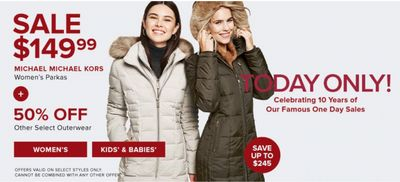 Hudson's Bay Canada Pre Black Friday One Day Sale: Today, Save 62% off Michael Michael Kors Women's Parkas + Extra 15% off Sitewide with Coupon Code