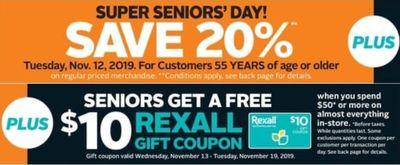 Rexall Pharmaplus Canada Super Bonus Seniors' Day Deals: Save 20% Off + FREE $10 Rexall Gift Coupon