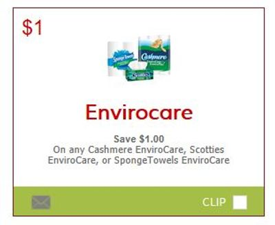 Canadian Coupons: Save $1 on Cashmere Envirocare, Scotties Envirocare, or SpongeTowels Envirocare