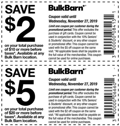 Bulk Barn Canada Pre Black Friday Coupons and Flyer: Save $2 to $5 Off Your Purchase with Coupons + 25% off Select Items