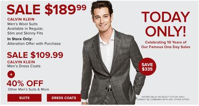 Hudson's Bay Canada Pre Black Friday One Day Sale: Today, Save 64% on Calvin Klein Men's Wool Suits & Dress Coats + Extra 15% with Coupon Code