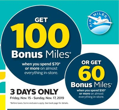 Rexall Pharma Plus Drugstore Canada Coupon & Flyers Deals: Get up to 100 Bonus Air Miles + 3 Days Deals