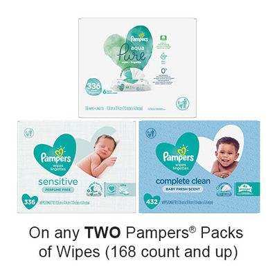Save $1.50 when you buy any TWO Pampers Pack of Wipes (168 count and up) (excludes trial/travel size, value/gift/bonus packs)
