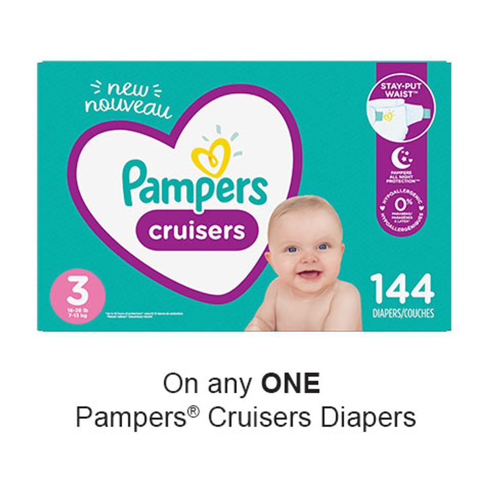 Save $2.50 when you buy any ONE Pampers Cruisers Diapers (excludes trial/travel size, value/gift/bonus packs)