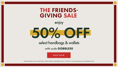 Kate Spade The Friends Giving Coupon Code Sale: Save 50% off Handbags & Wallets!