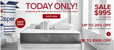 Hudson's Bay Canada Pre Black Friday One Day Sale: Today, Sale $995, Save $300 The CASPER Queen Mattress + Extra 15% with Coupon Code