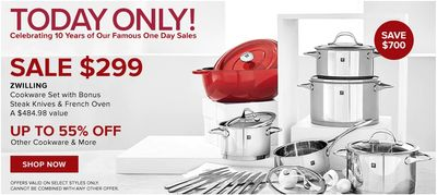 Hudson's Bay Canada Pre Black Friday One Day Sale: Today, Save 70% off ZWILLING Cookware Set with Bonus Steak Knives & French Oven, (a $484.98 value) + Extra 15% with Coupon Code